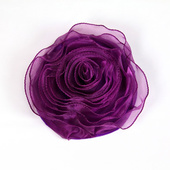 DISCONTINUED - DecoStar™ Pin-able Fabric Flower - Eggplant - Medium