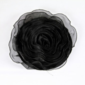 DISCONTINUED - DecoStar™ Pin-able Fabric Flower - Black - Large
