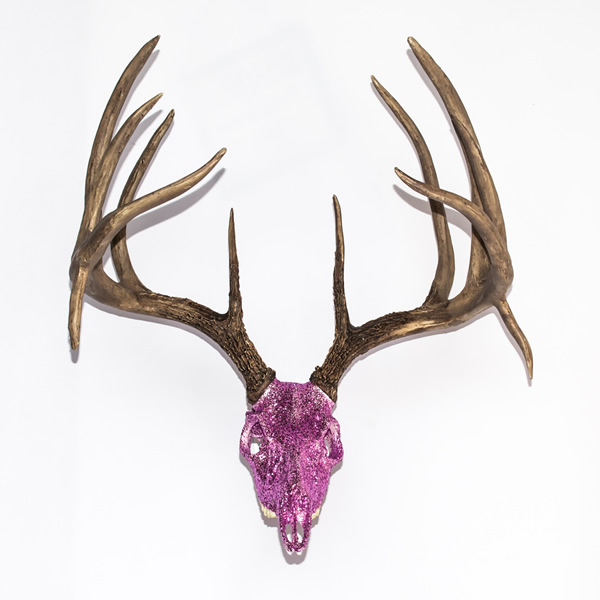 Massive Whitetail Deer Gem Skull Replica Encrusted W Pink Glitter Free Wall Mount Gs Deer Pnk Glit