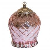 "DecoStar™ Pixie Jar™ Pink Mercury Diamond Glass Mini Lantern - Internally Illuminated - 7"" x 5"""