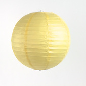 OVERSTOCK / DISCONTINUED ITEM Round Paper Lantern In Baby Yellow/Ivory - Assorted Sizes