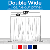 "10 oz. Inherently Fire Retardant Polyester Velour - Double Wide (120"") Sewn Drape Panel w/ 4"" Rod Pockets - 12ft"