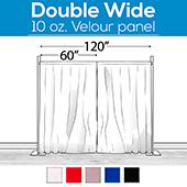 "10 oz. Inherently Fire Retardant Polyester Velour - Double Wide (120"") Sewn Drape Panel w/ 4"" Rod Pockets - 12ft"