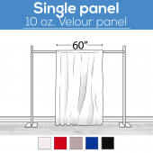 "10 oz. Inherently Fire Retardant Polyester Velour - Sewn Drape Panel 60"" Wide w/ 4"" Rod Pockets - 8ft"