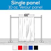 "10 oz. Inherently Fire Retardant Polyester Velour - Sewn Drape Panel 60"" Wide w/ 4"" Rod Pockets - 15ft"