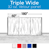 "10 oz. Inherently Fire Retardant Polyester Velour - Triple Wide (180"") Sewn Drape Panel w/ 4"" Rod Pockets - 15ft"