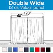 "12 oz. Fire Retardant Polyester Velour by Eastern Mills - Economy Decorator Grade - Double Wide (120"") Sewn Drape Panel w/ 4"" Rod Pockets - 16ft"