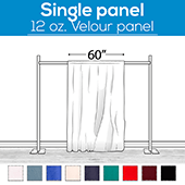 "12 oz. Fire Retardant Polyester Velour by Eastern Mills - Economy Decorator Grade - Sewn Drape Panel w/ 4"" Rod Pockets - 30ft"