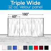 "12 oz. Fire Retardant Polyester Velour by Eastern Mills - Economy Decorator Grade - Triple Wide (180"")  Sewn Drape Panel w/ 4"" Rod Pockets - 8ft"