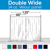 "14 oz. Production Performance Polyester Velour by Eastern Mills - Double Wide (120"") Sewn Drape Panel w/ 4"" Rod Pockets - 20ft"