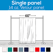 "14 oz. Production Performance Polyester Velour by Eastern Mills - Sewn Drape Panel w/ 4"" Rod Pockets - 14ft"
