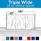 "14 oz. Production Performance Polyester Velour by Eastern Mills - Triple Wide (180"") Sewn Drape Panel w/ 4"" Rod Pockets - 14ft"