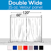 "15 oz. Inherently Fire Retardant Polyester Velour - Double Wide (120"") Sewn Drape Panel w/ 4"" Rod Pockets - 15ft"