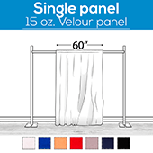 "15 oz. Inherently Fire Retardant Polyester Velour - Sewn Drape Panel 60"" Wide w/ 4"" Rod Pockets - 60ft"