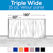 "15 oz. Inherently Fire Retardant Polyester Velour - Triple Wide (180"") Sewn Drape Panel w/ 4"" Rod Pockets - 15ft"