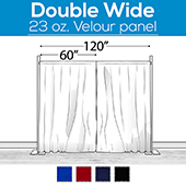 "23 oz. Inherently Fire Retardant Polyester Velour - Double Wide (120"") Sewn Drape Panel w/ 4"" Rod Pockets - 8ft"