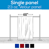 "23 oz. Inherently Fire Retardant Polyester Velour - Sewn Drape Panel 60"" Wide w/ 4"" Rod Pockets - 30ft"