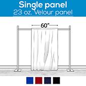 "23 oz. Inherently Fire Retardant Polyester Velour - Sewn Drape Panel 60"" Wide w/ 4"" Rod Pockets - 50ft"