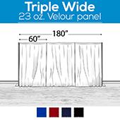 "23 oz. Inherently Fire Retardant Polyester Velour - Triple Wide (180"") Sewn Drape Panel w/ 4"" Rod Pockets - 10ft"