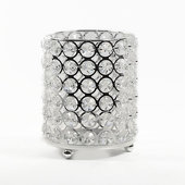 "DecoStar™ Real Crystal Candle Holder-SM w/ Chrome Finish 5.5""H"