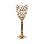 "DecoStar™ Real Crystal & Soft Gold Goblet/Candle Holder - 15"" Tall"