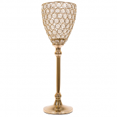 "DecoStar™ Real Crystal & Soft Gold Goblet/Candle Holder - 17"" Tall"
