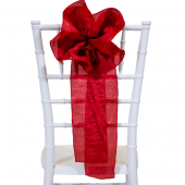 "DecoStar™ 9"" Crushed Taffeta Flower Chair Accent - Red"