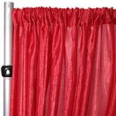 "*FR* Extra Wide Crushed Taffeta ""Tergalet"" Drape Panel by Eastern Mills 9ft Wide w/ 4"" Sewn Rod Pocket - Red"