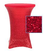 "Perfect Fit Sequin Spandex Cocktail Table Cover 30""-32"" Round - Red"
