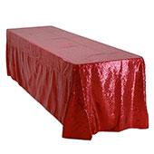 "Rectangle 90"" X 156"" Sequin Tablecloth by Eastern Mills - Premium  Quality - Red"