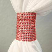 DecoStar™ Red Rhinestone Mesh Velcro Band / Curtain Tie