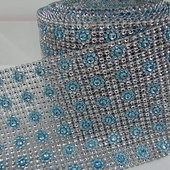 DISCONTINUED ITEM - DecoStar™ Light Blue and Silver Patterned Rhinestone Mesh - 30 Foot Roll