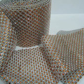 DISCONTINUED ITEM - DecoStar™ Bronze and Silver Rhinestone Mesh-30 Foot Roll