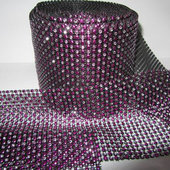 DISCONTINUED ITEM - DecoStar™ Hot Pink and Silver Rhinestone Mesh - 30 Foot Roll