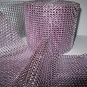 DecoStar™ Soft Pink Rhinestone Mesh - 30 Foot Roll