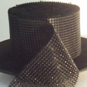 DISCONTINUED ITEM - DecoStar™ Black Rhinestone Mesh-30 Foot Roll