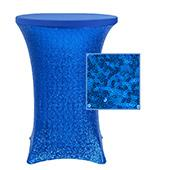 "Perfect Fit Sequin Spandex Cocktail Table Cover 30""-32"" Round - Royal Blue"