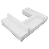 "Titan Series Leather Reception Configuration Style ""HH"" 6 Pieces ""White"""