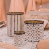 DecoStar™ Shabby Chic Designs White Votive w/ Gold Mercury Lining and Metal Rimmed Top - Set of 3!