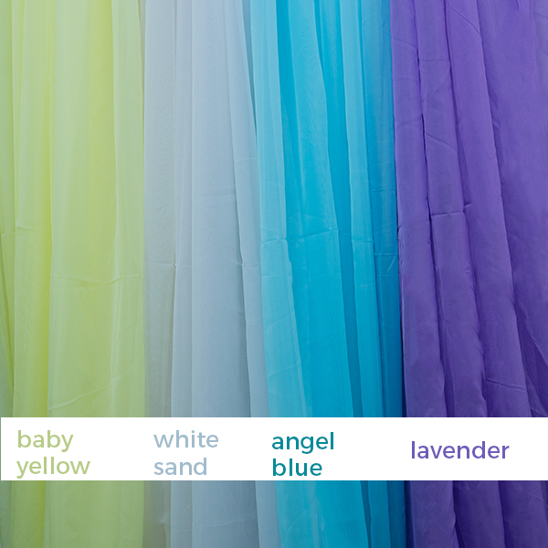 21ft 12 panel sheer fabric ceiling draping in assorted colors