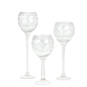 DecoStar™ 3 Piece Set! Formal Engraved Glass Goblet