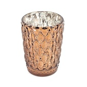"DecoStar™ 3 1/2"" Glam Small Diamond Etched Mercury Glass Candle/Votive Holder - Bronze"