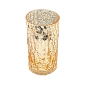 "DecoStar™ 6"" Glam Wavy Etched Pattern Mercury Glass Candle/Votive Holder - Gold"