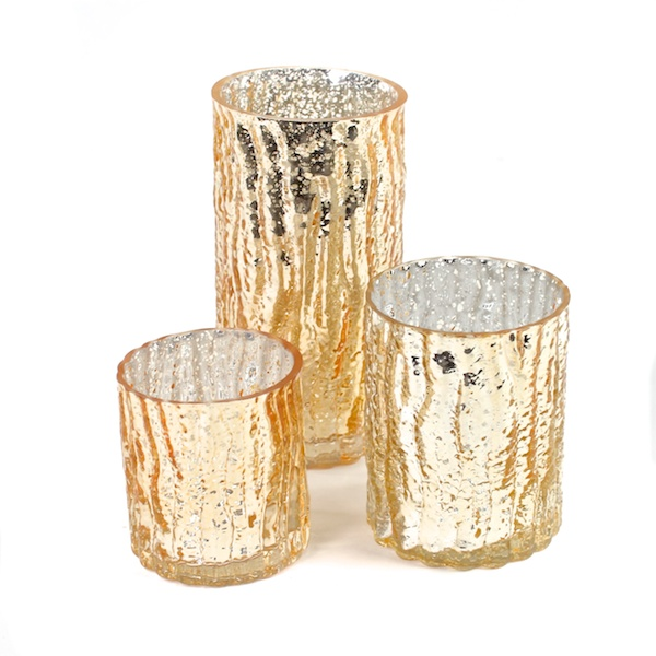 Gold Mercury Glass Candle Holders Candle Votives Set Of 3