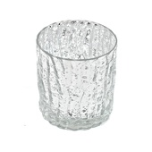 "DecoStar™ 3"" Glam Wavy Etched Pattern Mercury Glass Candle/Votive Holder - Silver"