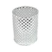 "DecoStar™ 5 1/2"" Glam Diamond Etched Round Mercury Bottomless Candle/Votive Holder - Silver"