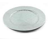 "DecoStar™ 13"" Glam Crocodile Pattern Charger Plate - Silver - 24 pack"