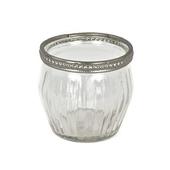 DecoStar™ 12 PACK - Stripe Etched Glass Tea Light Holder W/ Silver Trim