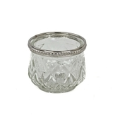 DecoStar™ 6 PACK - Diamond Etched Glass Tealight Holder W/ Silver Trim - Small