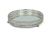DecoStar™ Mirrored Plate W/ Silver Embellished Edges - Small